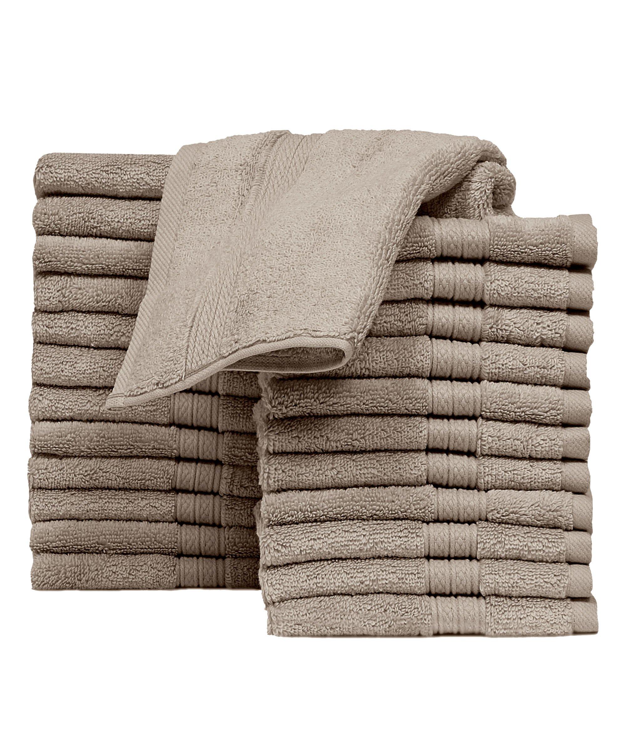 Casa Platino 100% Cotton 24 pack washcloths face towels set, Machine Washable, Super Soft, super zero twist towels (linen)