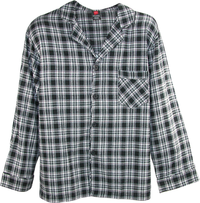 Hanes Mens Long Sleeve Flannel Pajama Sleep Top /& Pant Set
