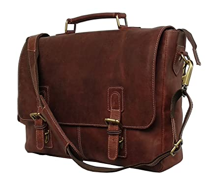 Image Unavailable. Image not available for. Color  16 quot  Inch Retro Buffalo  Hunter Leather Laptop Messenger Bag Office Briefcase College ... 10a5f8a544e0a