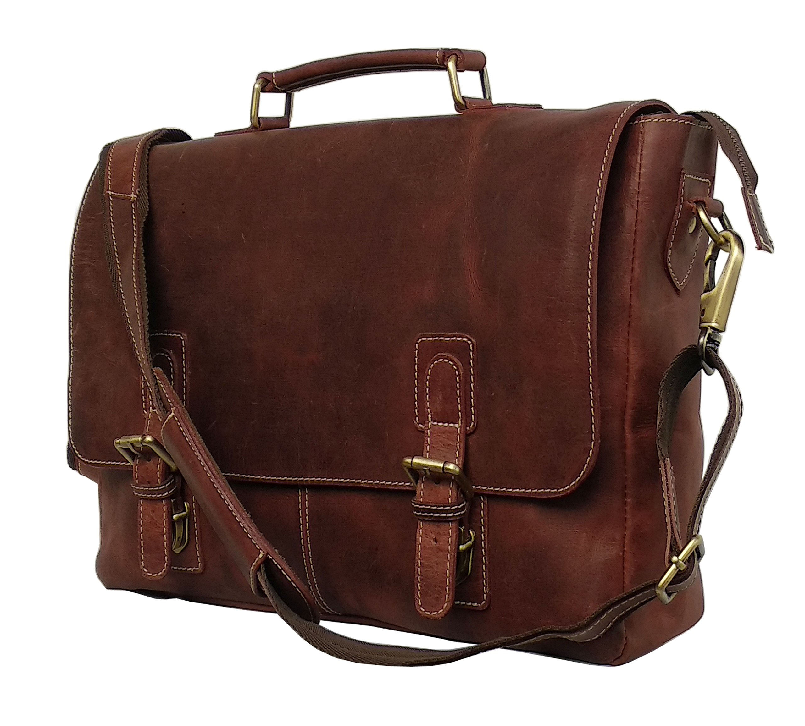 16'' Inch Retro Buffalo Hunter Leather Laptop Messenger Bag Office Briefcase College Bag leather bag for men and women
