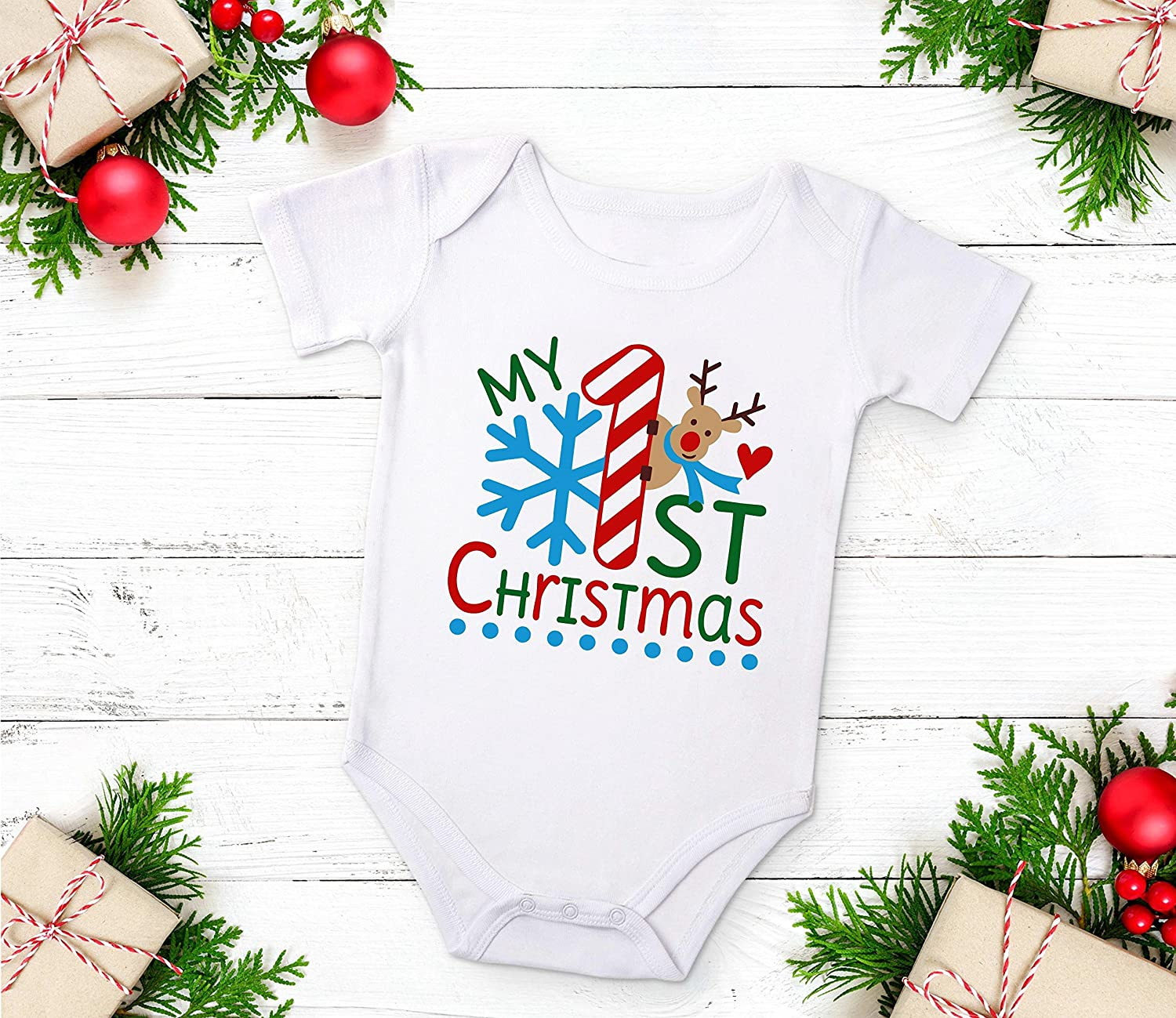 Baby First Christmas Bodysuit, Baby's First Christmas 2017, Christmas Baby, Long or Short Sleeve Baby' s First Christmas 2017