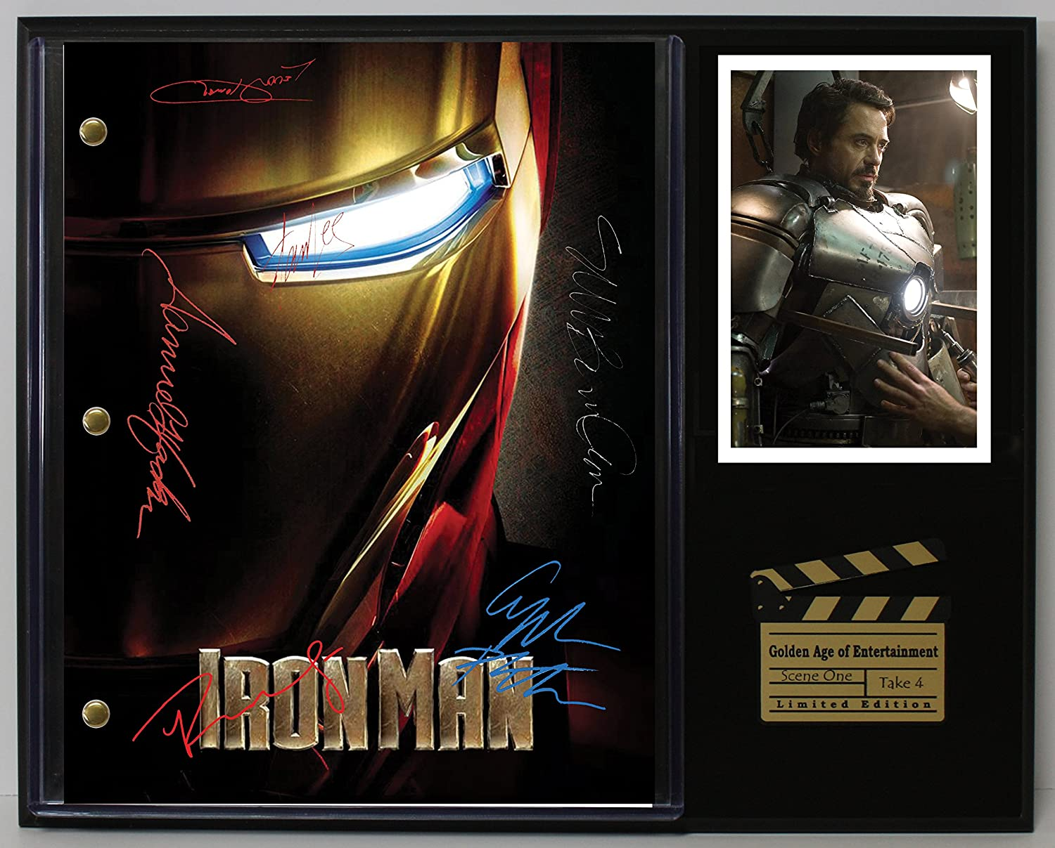 IRON MAN LTD EDITION REPRODUCTION SIGNED CINEMA SCRIPT DISPLAY'C3'