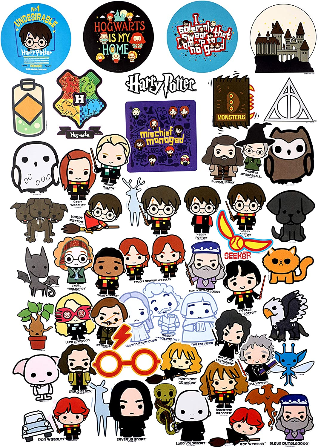 Potterfy All The Things Waterproof and UV Resistant Set of 50 Conquest Journals Harry Potter Chibi Vinyl Stickers Indoor and Outdoor Use Great for All Your Gadgets