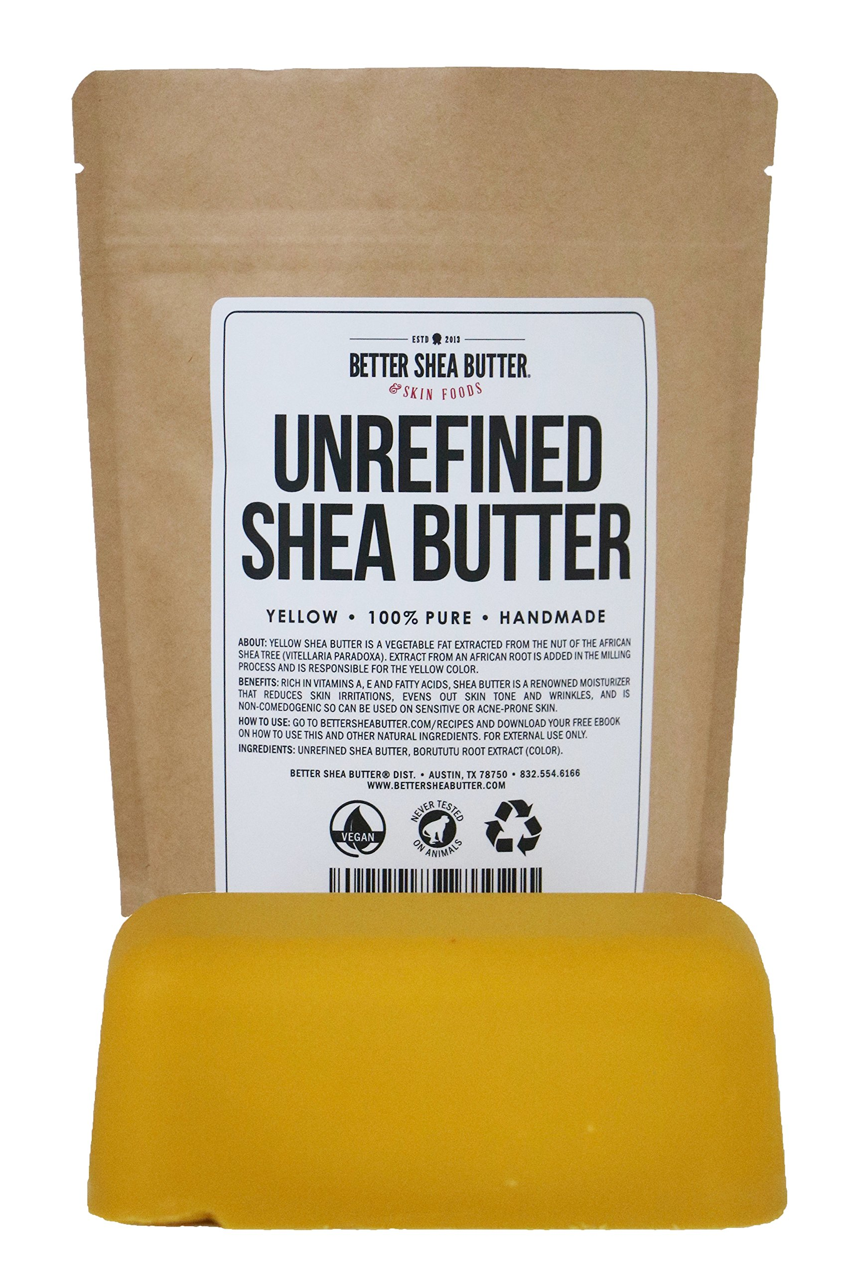 Yellow Shea Butter by Better Shea Butter - African, Raw, Pure - Use Alone or in DIY Body Butters, Lotions, Soap, Eczema & Stretch Marks Products, Lotion Bars, Lip Balms and More! - 1 lb (16 oz)