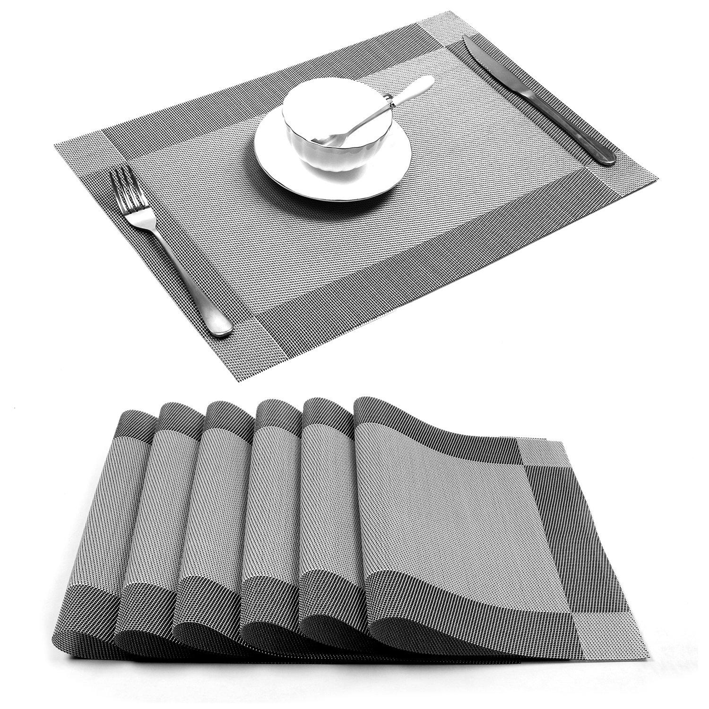 Placemat,U'Artlines Crossweave Woven Vinyl Non-slip Insulation Placemat Washable Table Mats Set of 6 (6pcs placemats, Silver-gray)