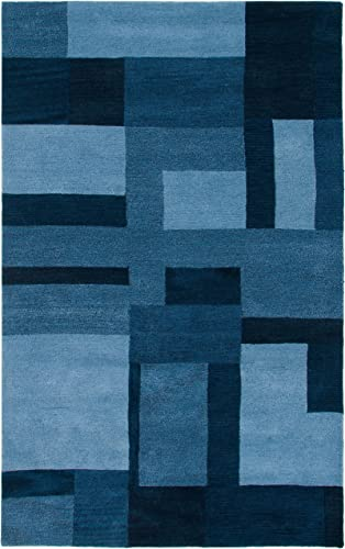 Rizzy Home Colours Collection Wool Area Rug, 8 x 10 , Blue Gray Rust Blue Block
