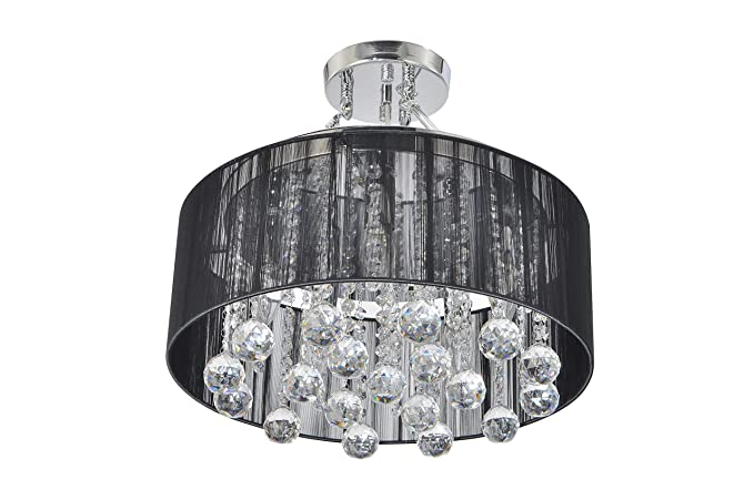 white fabric shade crystal modern drum. Plain Modern Unitary BRAND Modern Crystal Drops Drum Semi Ceiling Light Black Fabric  Shade Max 200W With 5 On White U