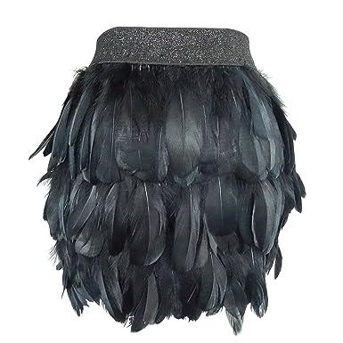dc68de9ebc L'VOW Women Real Natural Feather Fashion Mid Waist Mini A-line Skirt ...