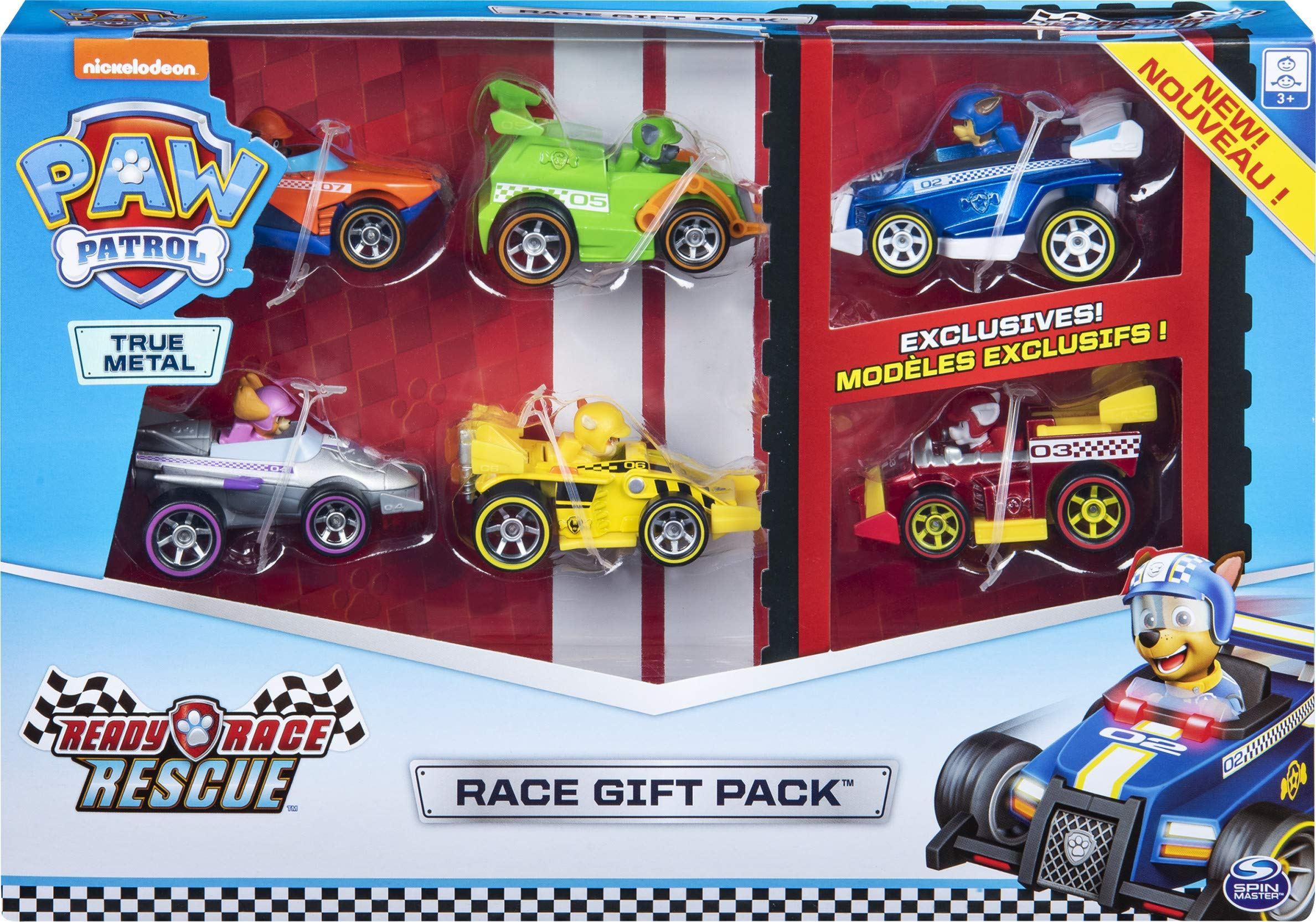 PAW Patrol True Metal Ready Race Rescue Gift Pack of 6 Race Car Collectible Die-Cast Vehicles, 1:55 Scale