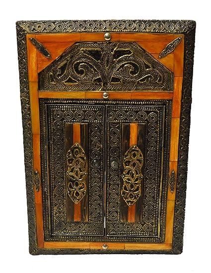 Moroccan Mirrors Handmade Camelbone and Wood Mirror with Doors Orange - Amazon.com: Moroccan Mirrors Handmade Camelbone And Wood Mirror With