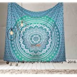Tapestry Queen Ombre Gift Hippie tapestries Mandala Bohemian Psychedelic Intricate Indian Bedspread 92x82 Inches Aakriti Gallery (Green)