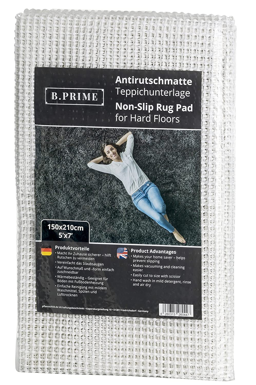 B.PRIME 5x7-Feet Non-Slip Rug Underlay Pad for Hard Floors. Different Size Options Available