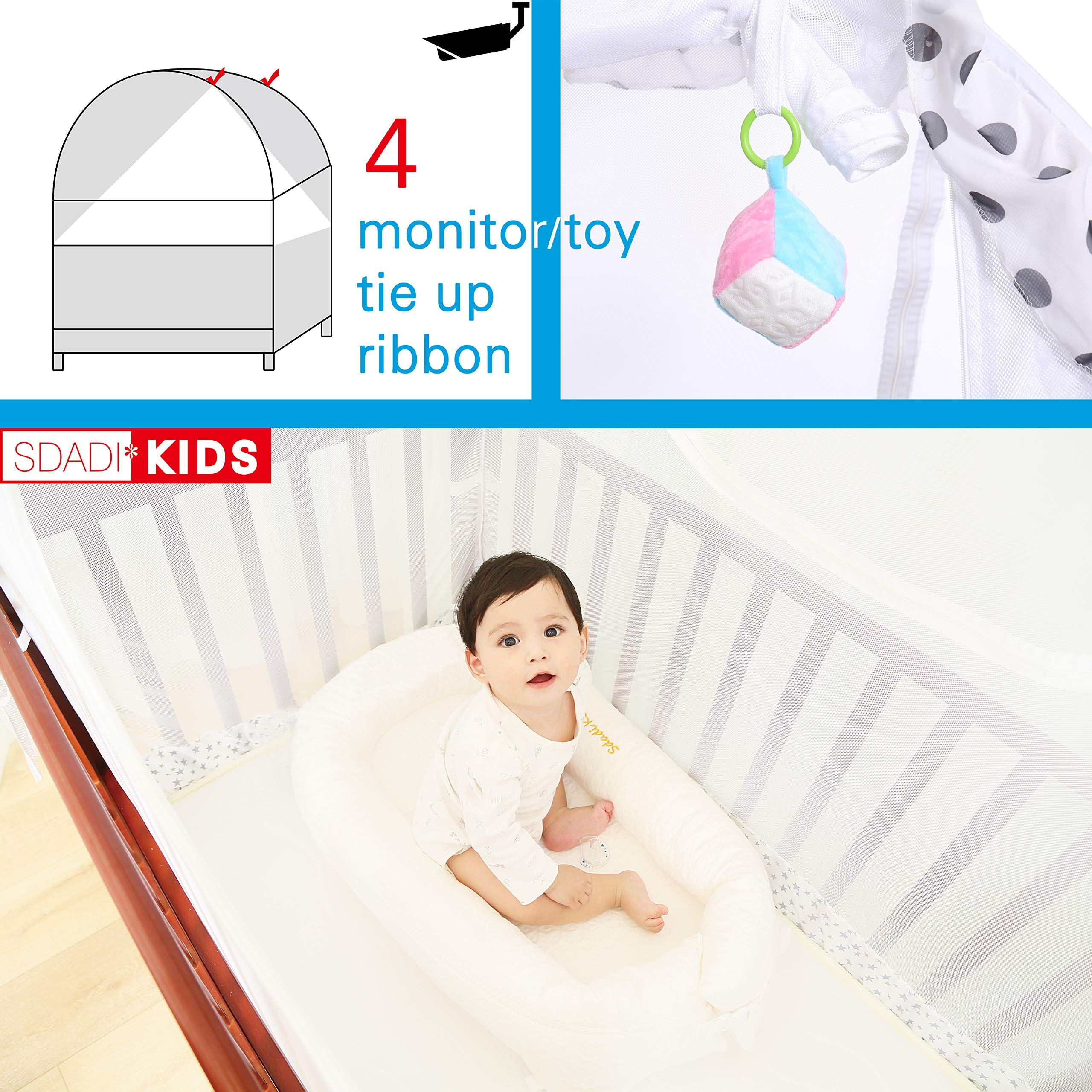 SDADI Baby Crib Safety Tent Pop Up Mosquito Net with Baby Monitor Hang Ribbon,Toddler Bed Canopy Netting Cover |Dots WLCN01D by SDADI (Image #5)