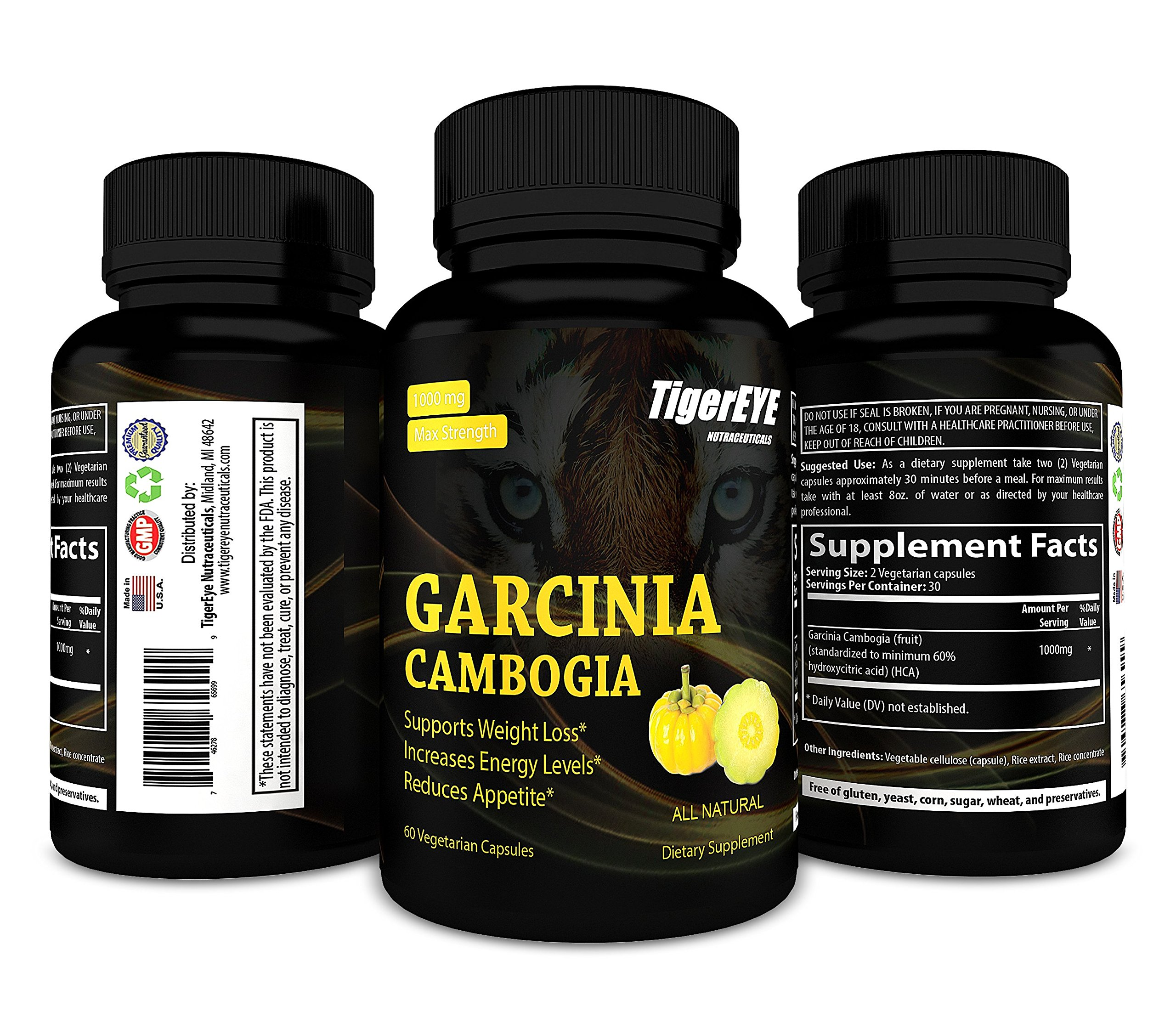 Pure Garcinia Cambogia Extract 100% New Extra Strength, All Natural Appetite Suppressant, Boosts Energy, Carb Blocker, Weight Loss Supplement, 60 Vegetarian Capsules by Tigereye Nutraceuticals (Image #2)