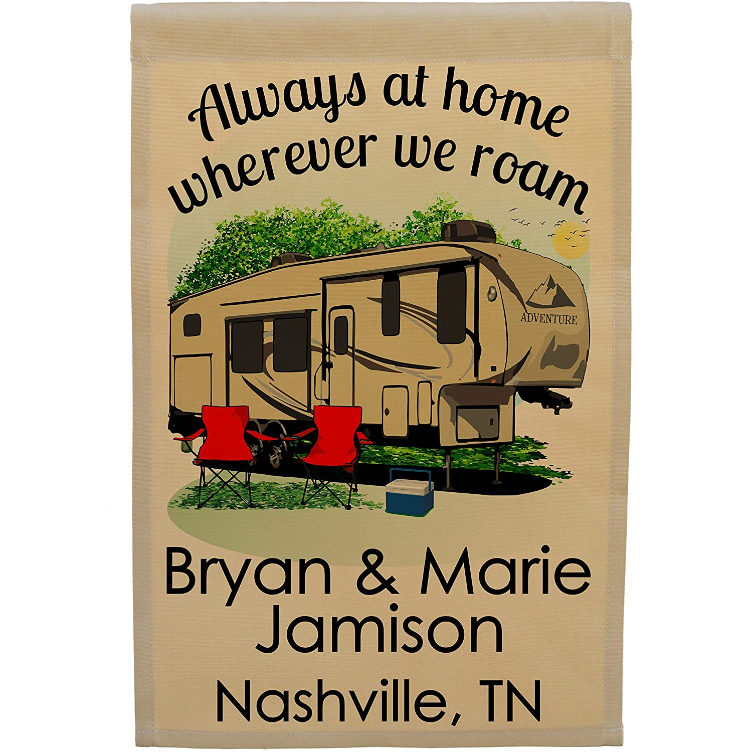 Always at Home Wherever We Roam Personalized Camping Flag (Tan with Black Windows)