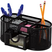 Rolodex 1746466 Mesh Four Compartments Pencil Cup Organizer (Black Steel)