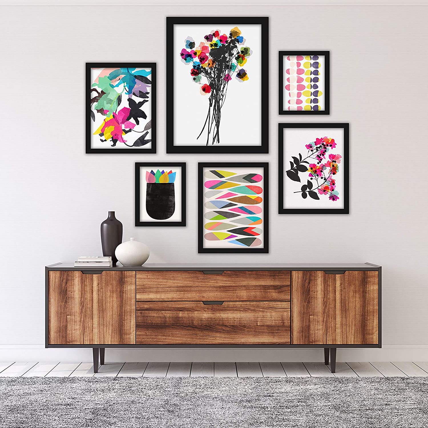 Amazon Com Americanflat Framed Gallery Wall Art Set 6 Piece Colorful Abstract Contemporary Florals Black Framed Art Home Kitchen