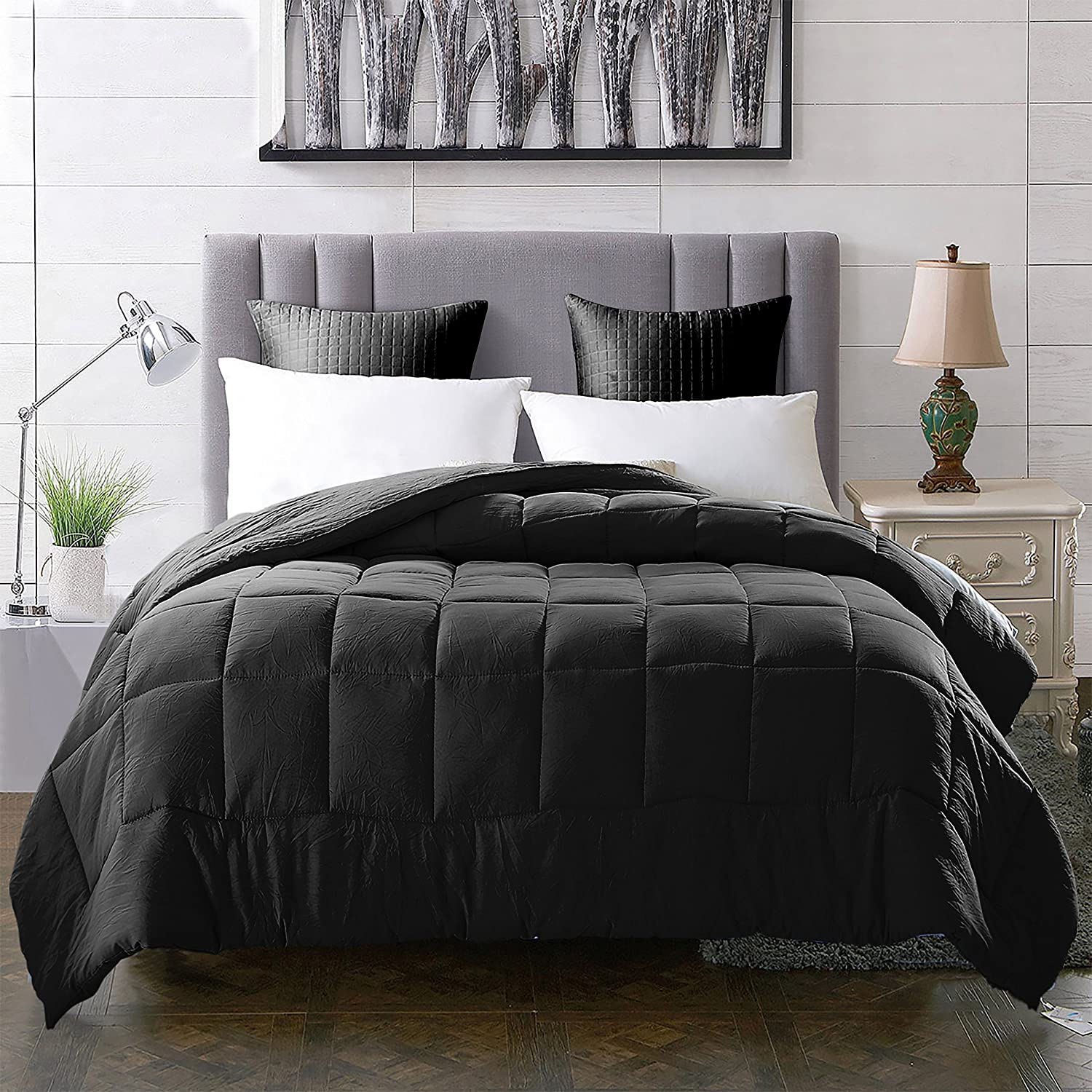EVOLIVE All Season Pre Washed Soft Microfiber White Goose Down Alternative Comforter (Black, Full/Queen)