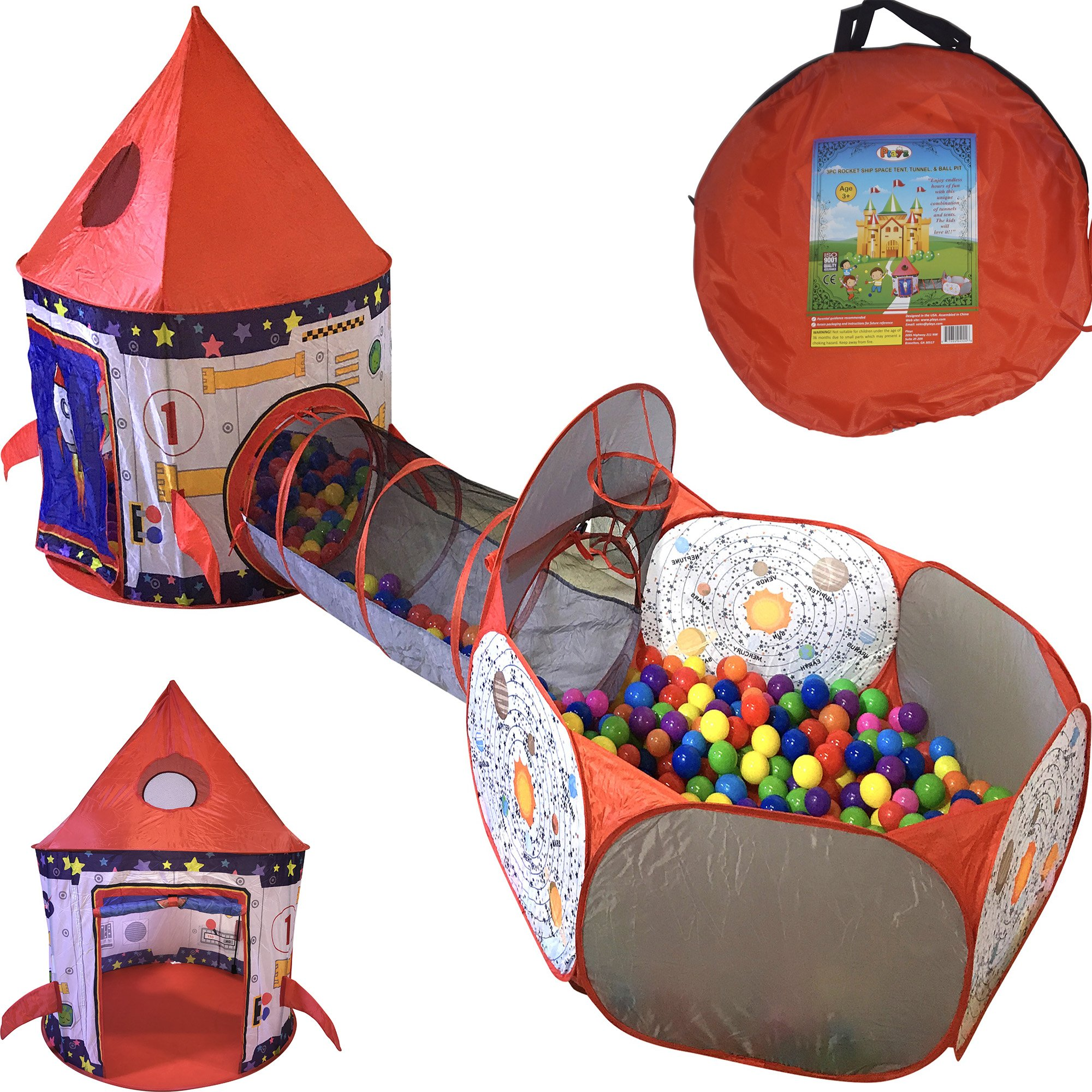 Playz 3pc Rocket Ship Astronaut Kids Play Tent, Tunnel, & Ball Pit with Basketball Hoop Toys for Boys, Girls, Babies, and Toddlers - STEM Inspired Educational Galactic Spaceship Design w/ Planets by Playz