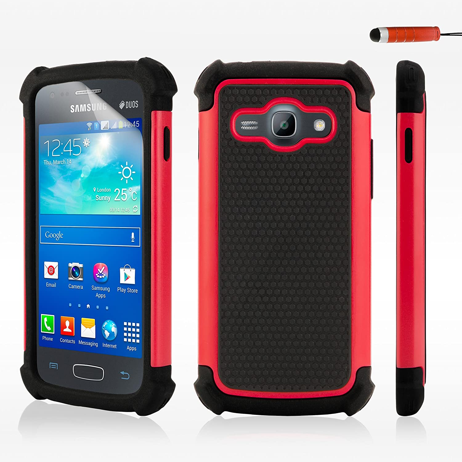 Amazon 32ndShock proof heavy duty dual protector case cover for Samsung Galaxy Ace 3 S7270 screen protector cleaning cloth and touch stylus Red
