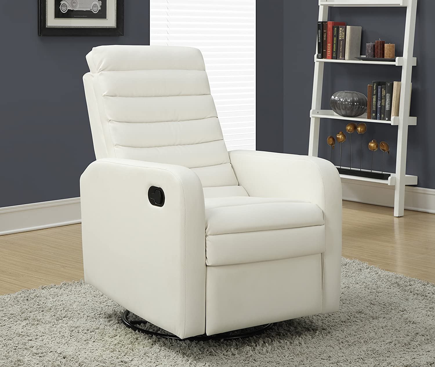 Amazon.com: Monarch Specialties White Bonded Leather Swivel Glider Recliner:  Kitchen U0026 Dining
