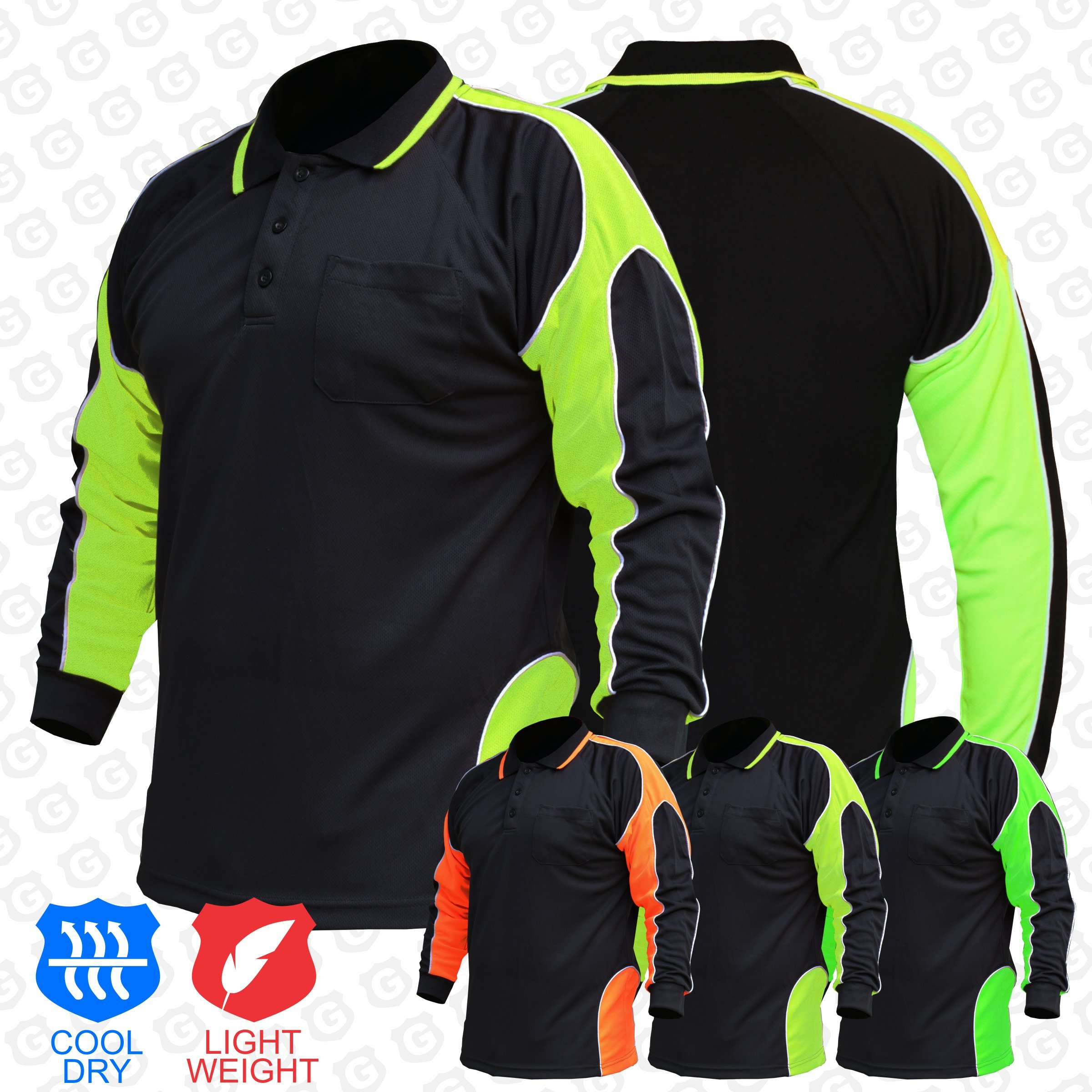 BIG BEE Hi Vis Polo Shirt Arm Panel with Piping Fluoro Work wear Cool Dry Long Sleeve (Pack of 2) by BIG BEE (Image #3)