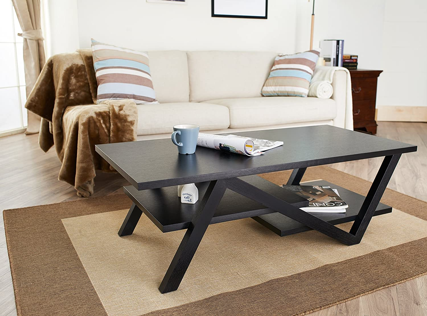 Black and wood coffee table - Amazon Com Iohomes Finley Rectangular Coffee Table Black Kitchen Dining