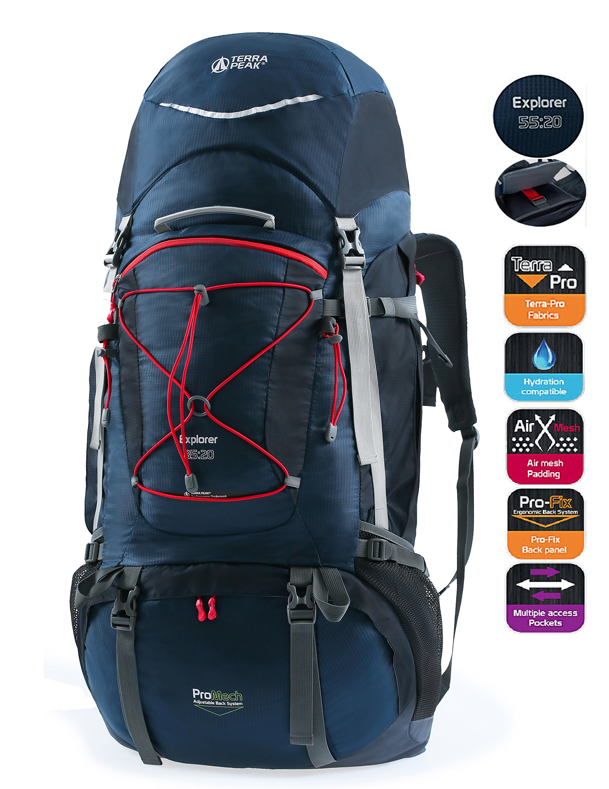 TERRA PEAK Adjustable Hiking Backpack 55L+20L for Men Women With Free Rain Cover Included Navy by TERRA PEAK