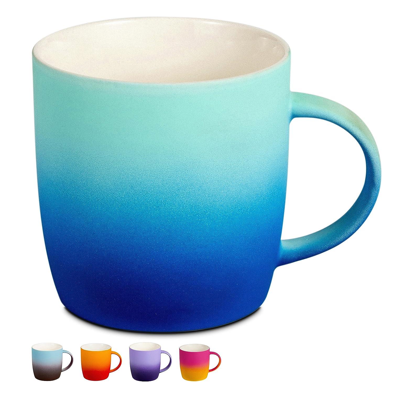 BEGONDIS Coffee Mug Ceramic Gradient Ombré Color Elegant Matte Tea Cup Perfect Gift For Family and Friend 13oz (Blue)  Blue B078GWP57K