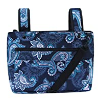 Snapster Snap On Tote Bag for Walker, Stroller or Shopping Cart (Navy Paisley)