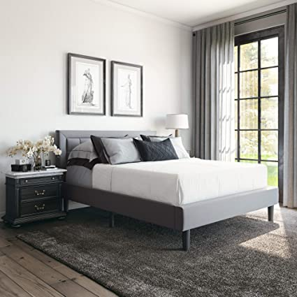 AmazonSmile: Classic Brands Mornington Upholstered Platform Bed | Headboard and Metal Frame with Wood Slat Support, Queen, Light Grey: Furniture & Decor
