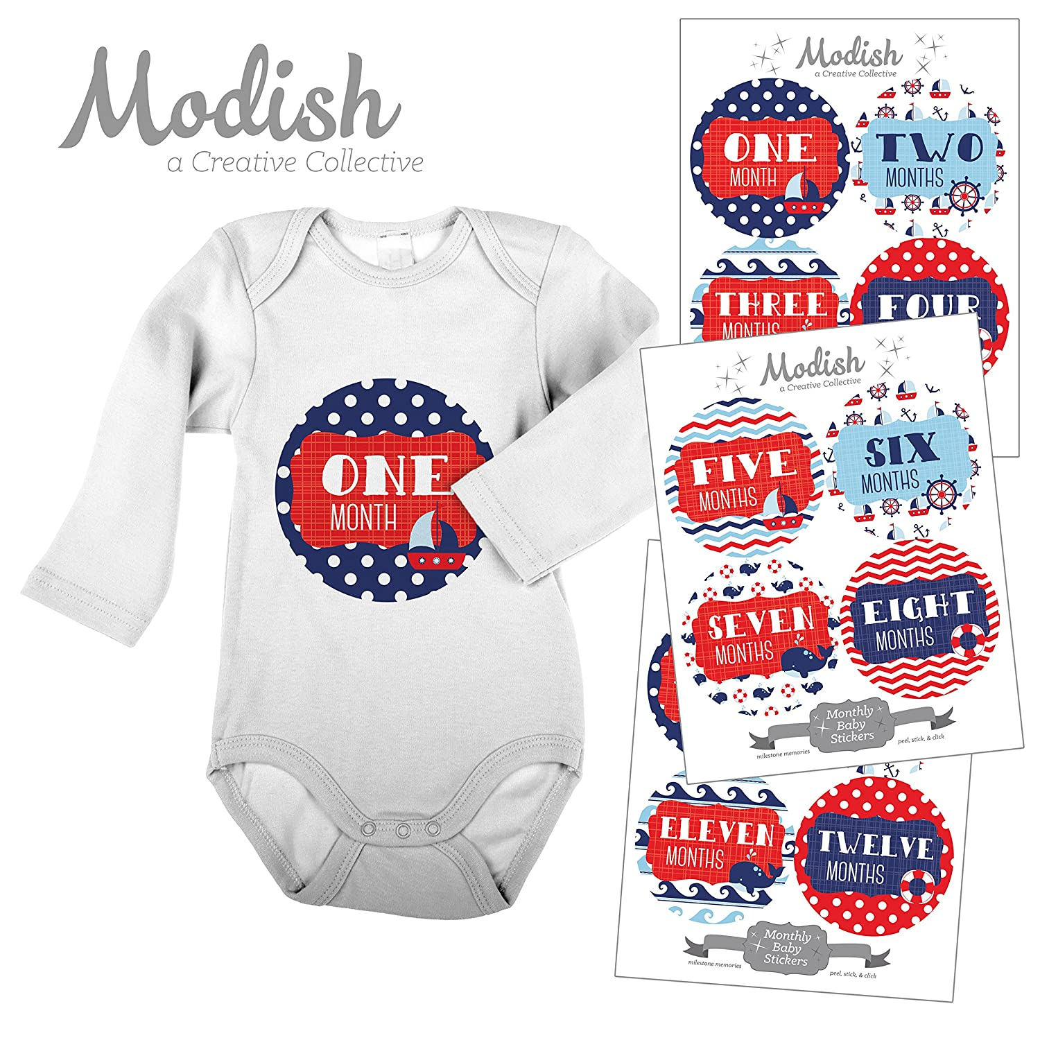 12 Monthly Baby Stickers, Waves, Nautical, Navy, Stickers Blue, 1-12, Red, Boy, Girl, Gender Neutral, Baby Belly Stickers, Monthly Onesie Stickers, First Year Stickers Months 1-12, Chevron, Sail Boat, Anchor, Ocean Waves, Whale, Baby Boy, Baby Girl, Gender Neutral by Modish - Creative Collective B00XGZ4UDE, ひめこうぐ:eabf3c50 --- integralved.hu