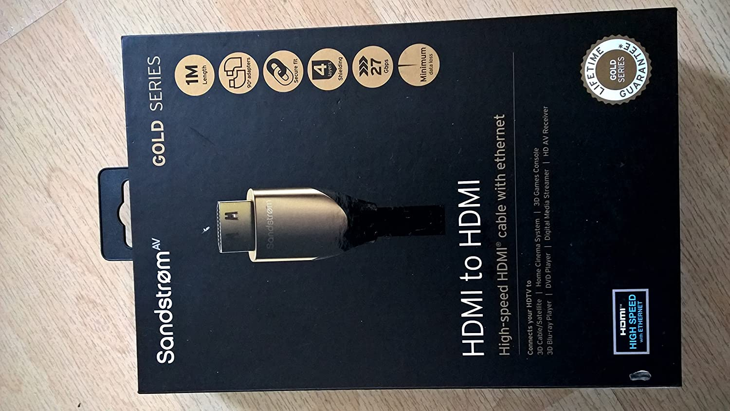 Sandstrom Av Gold Series Hdmi Cable 1 Metre Home Ethernet Wiring Camera Photo