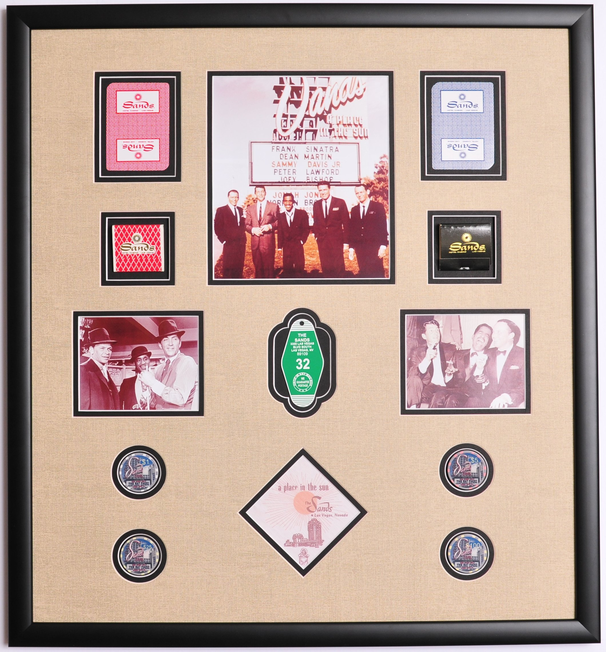 RAT Pack Sands Hotel Photo Framed w/ Cards , Poker Chips, Casino Napkin, Room Key Fob and Matchbooks