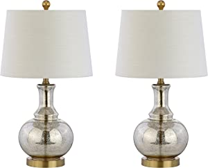 "JONATHAN Y JYL1068A-SET2 Lavelle 25"" Glass LED Table Lamp Contemporary,Transitional for Bedroom, Living Room, Office, College Dorm, Coffee Table, Bookcase, MercurySilver/BrassGold(Setof2)"