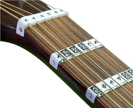 FRETNOTES Pegatinas - para GUITARRA eléctrica o acústica de 6 cuerdas - 25 etiquetas con en línea lecciones: Amazon.es: Instrumentos musicales
