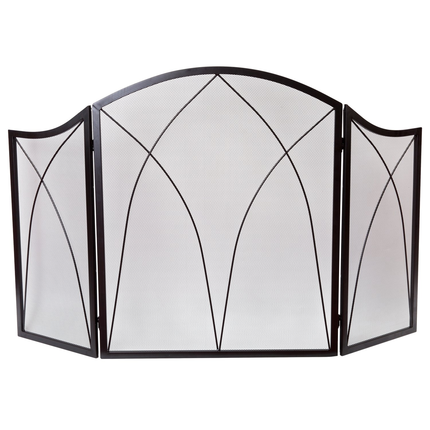 DOEWORKS Three Panel Basic Arch Fireplace Screens
