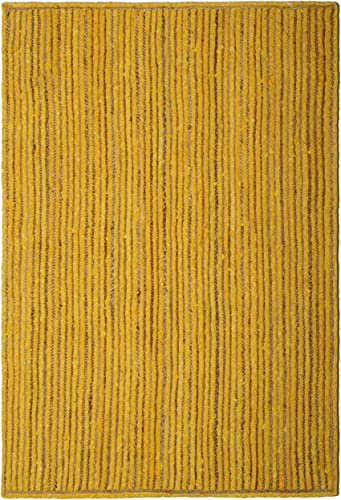 Natural Hemp Yellow Cotton Racetrack 4 x6 Rug with