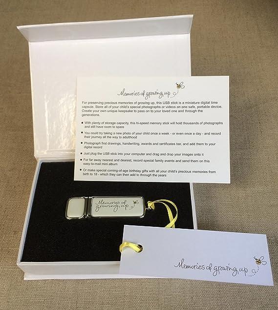 Recuerdos de crecer de memoria USB en paquete de presentación de regalo Talla:16 gigabytes: Amazon.es: Bebé