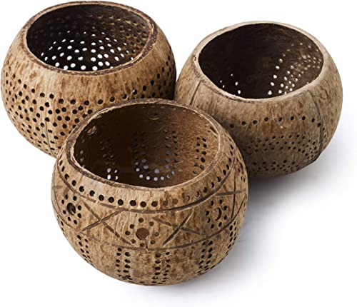 Handmade Decorative Coconut Shell Candle Holders Set of 3