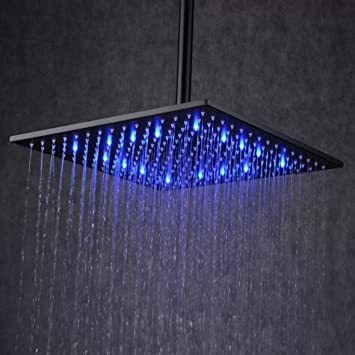 Ollypulse 12\'\' Square Color Changing LED Stainless Steel Rain Shower ...