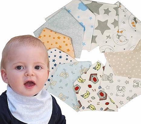Ti TIN - Pack de 10 Baberos Pañuelo Bandana para Bebé 100% Algodón Sin Plástico | Lote de 10 Baberos con Cierre con Broche Para bebés de 0 a 6 meses: Amazon.es: Bebé