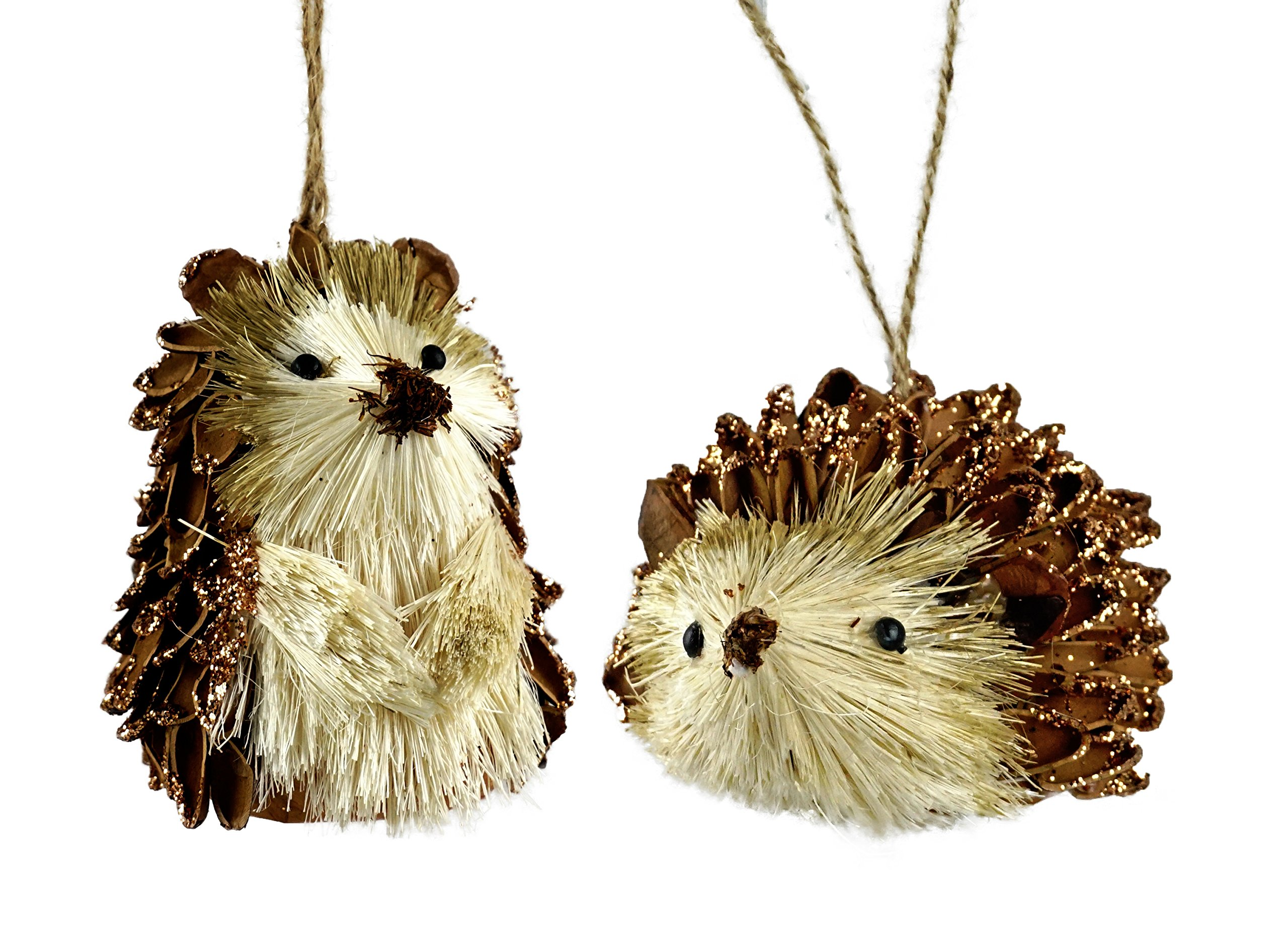 Creative Co-op Woodland Pinecone Hedgehog Hanging Christmas Ornaments - Set of 2