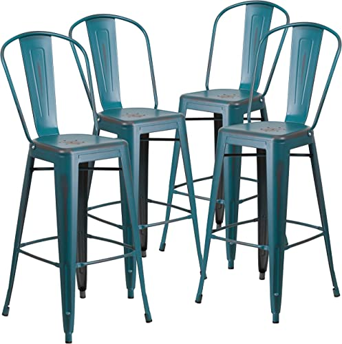 Flash Furniture Commercial Grade 4 Pack 30″ High Distressed Kelly Blue-Teal Metal Indoor-Outdoor Barstool
