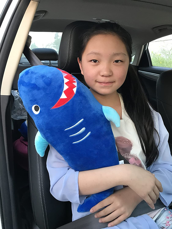 seemehappy Cute Plush Shark Car Seat Belt Cover Seatbelt Pad Cartoon Car Seat Toy for Children or Adults