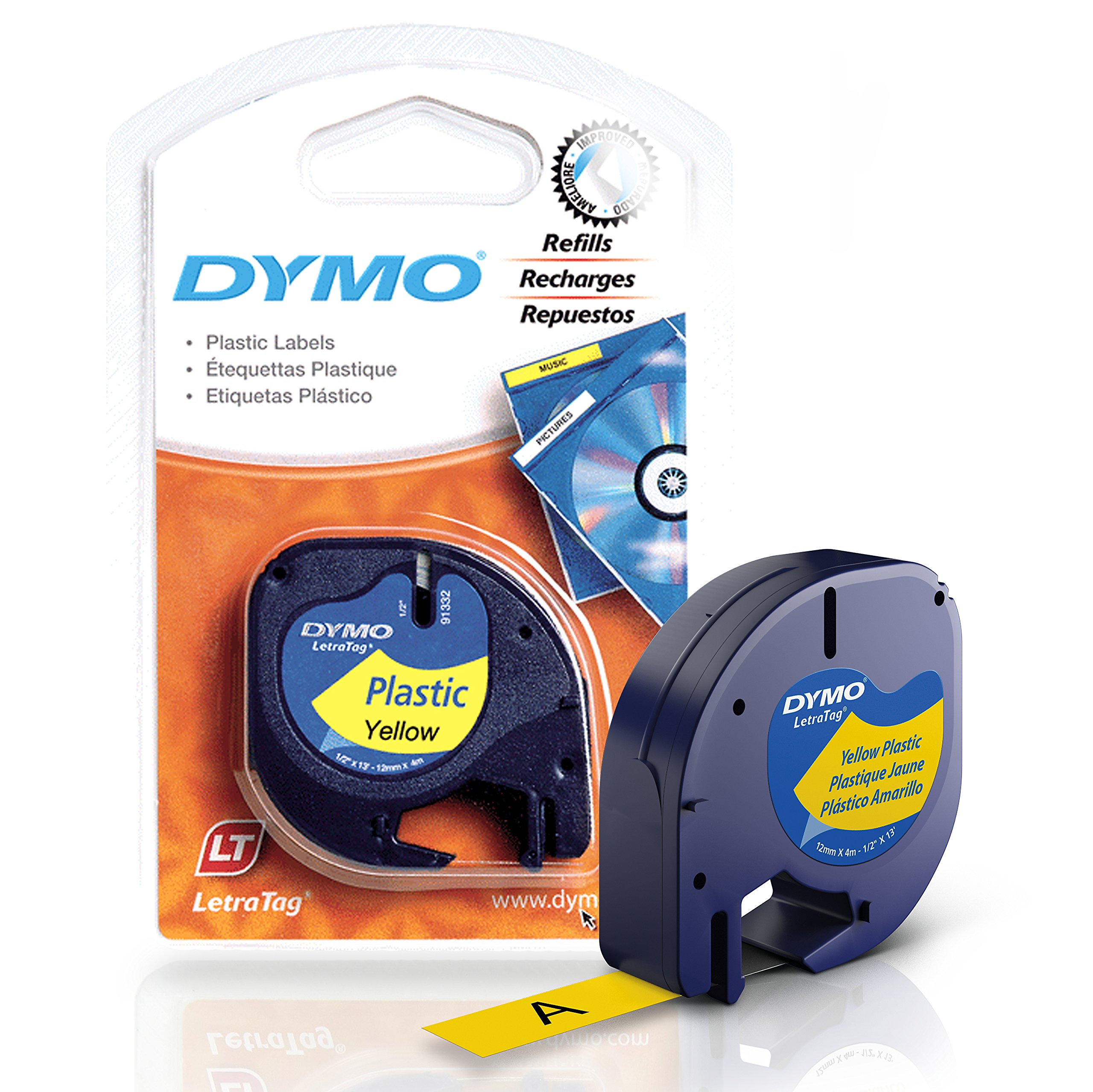 DYMO LetraTag Labeling Tape for LetraTag Label Makers, Black print on Yellow tape, 1/2'' W x 13' L, 1 roll (91332)