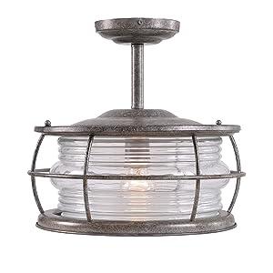 Kenroy Home Beacon 1 Light Convertible Semi Flush, Flush Flush, Flint