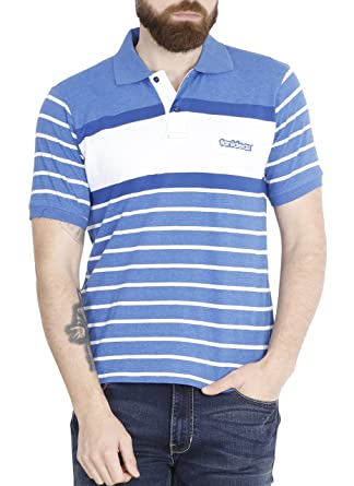 3b091833e fanideaz Men s Half Sleeve Cotton Denim Blue Striped Polo t-Shirt for Men  with Branded