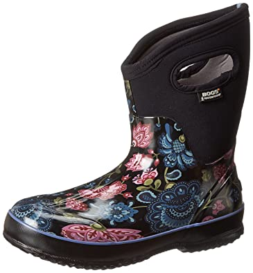 Bogs Women's Classic Mid Winter Blooms Waterproof Insulated Boot, Black  Multi,6 ...