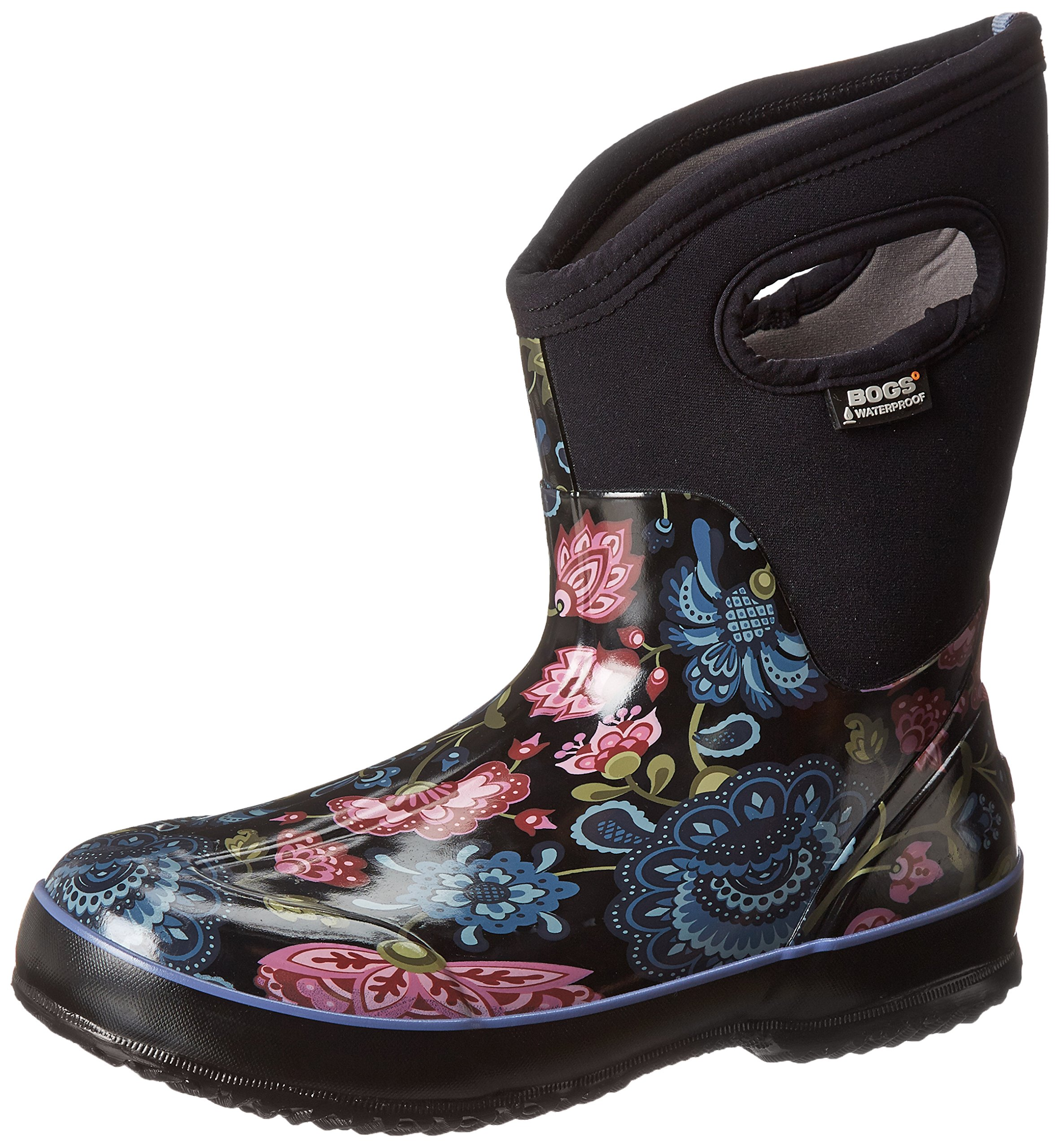 Bogs Women's Classic Mid Winter Blooms Waterproof Insulated Boot, Black Multi,9 M US